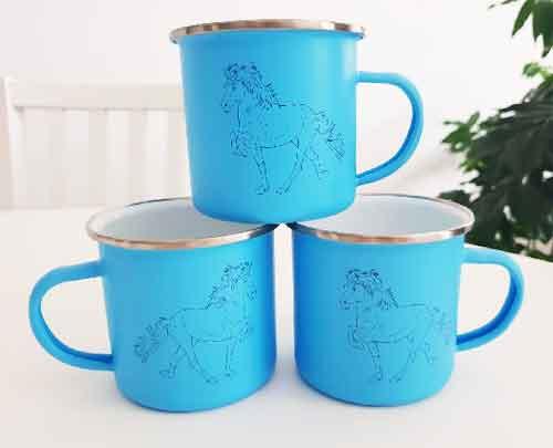 Cadeautips Paardenliefhebber Blauwe Emaille Beker Paard